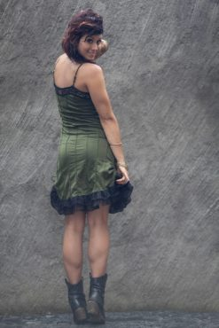 comfortable stretchy green cotton sexy dress festival woman underground fashion by french independent designer offrandes
